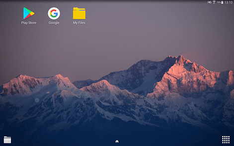 A screen showing the interface layout on an Android tablet device with a mountain and three app icons