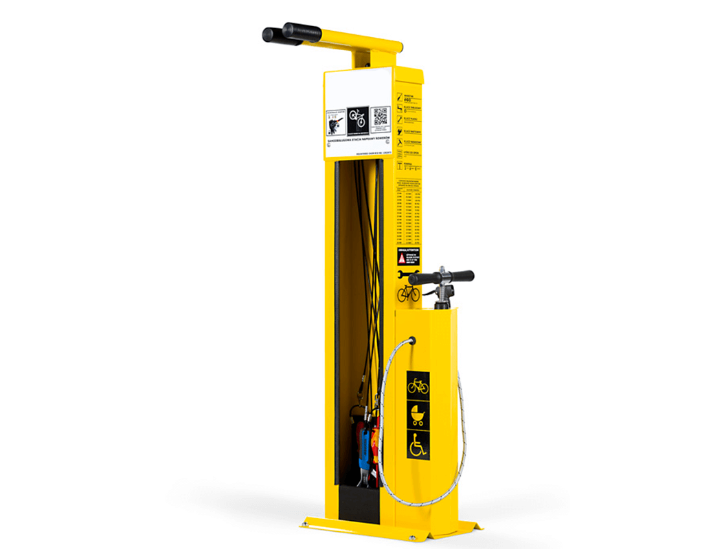 Yellow Bike Pump and Repair Stand