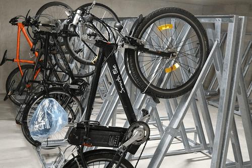 Semi Vertical heavy-duty bike racks with Secure locking point