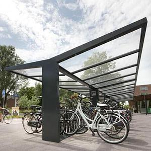 Glass roof bike shelter