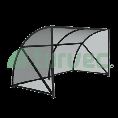 Glass curved bike shelter