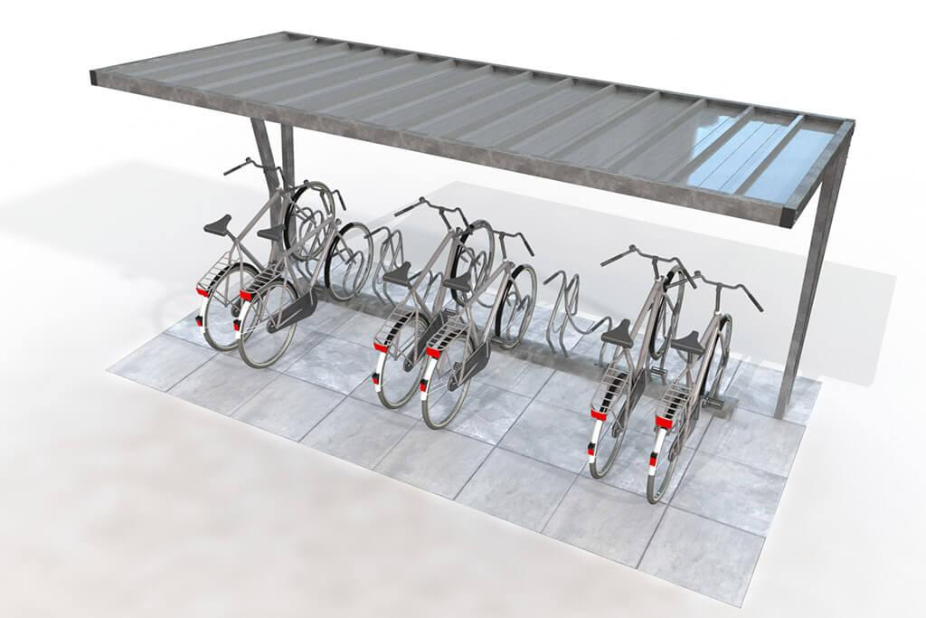 Covered bike shelter with metal roof and bike racks