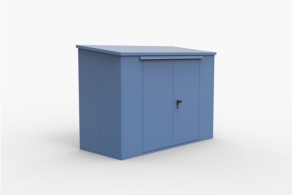 Large bike storage shed blue