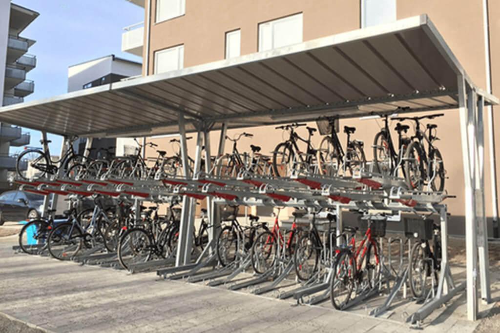 Covered two tier bike racks