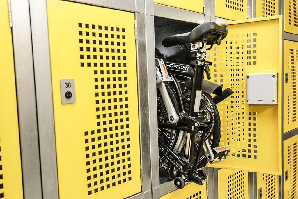 Folding Bike Lockers, yellow