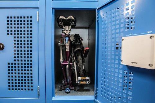 Folding Bike Locker, blue with bike packed inside