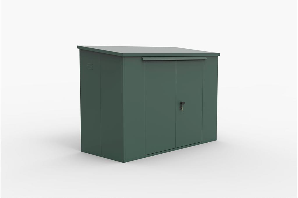 Large bike storage shed green