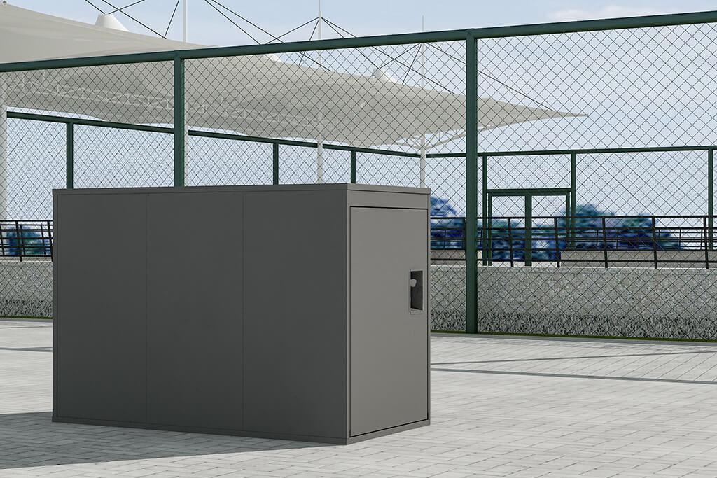 Horizontal bike locker, grey