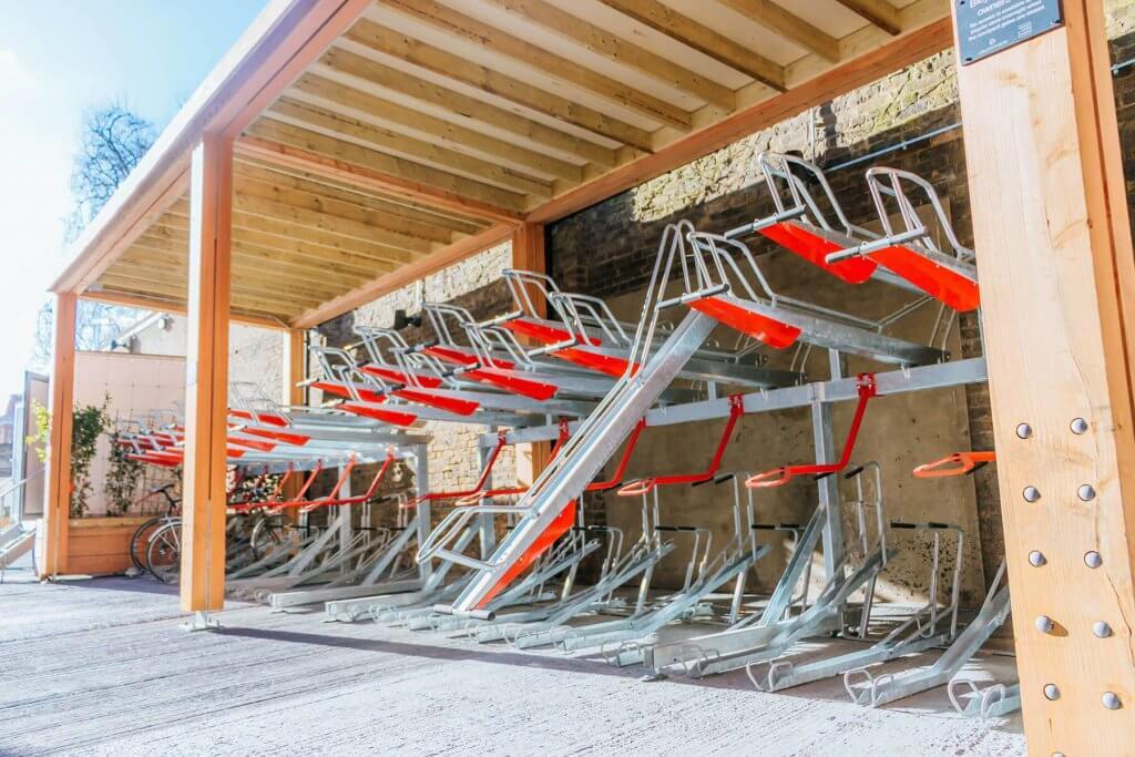 Two tier bike racks