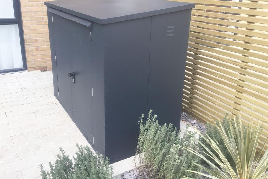 Large bike storage shed grey