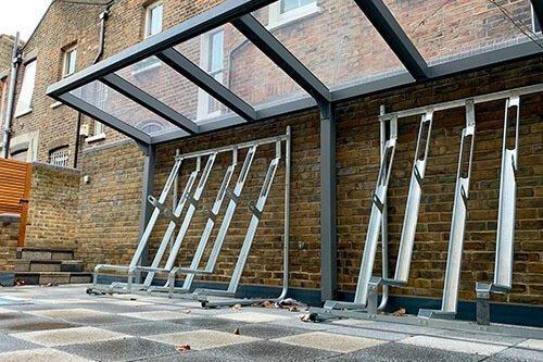 Semi-vertical rack shelter