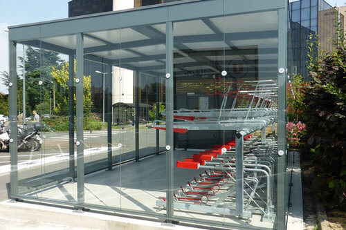 Glass and wood cycle shelter