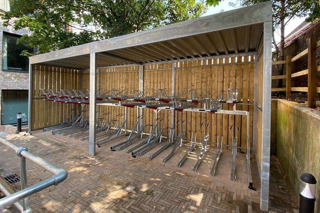 Wood bike shelter