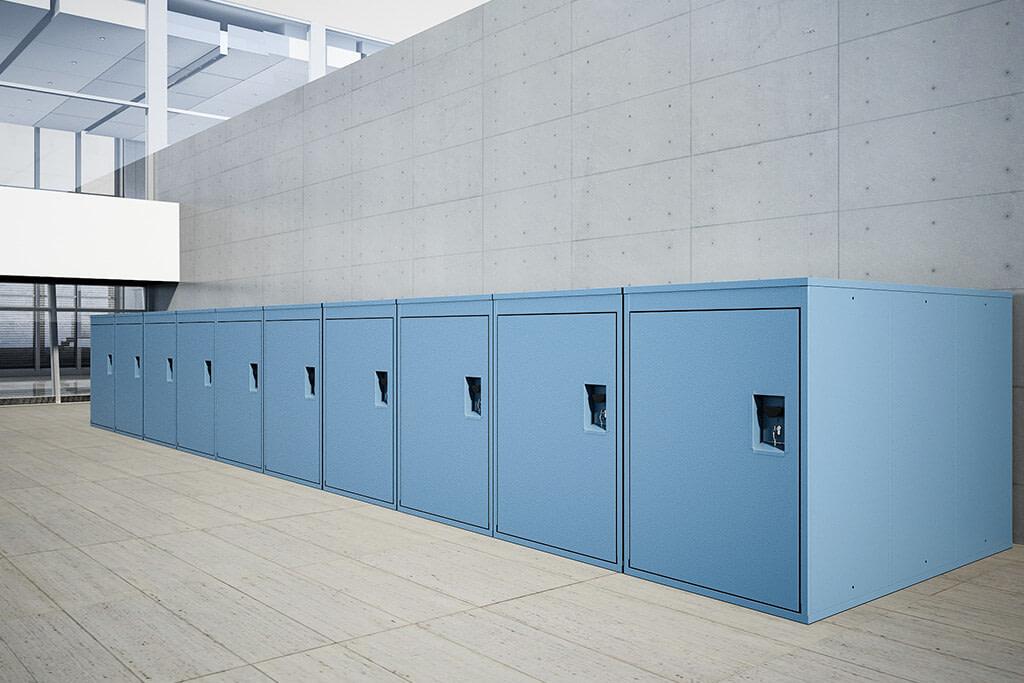 Horizontal bike locker, blue