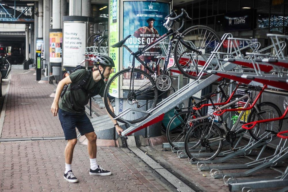 train station two tier cycle racks