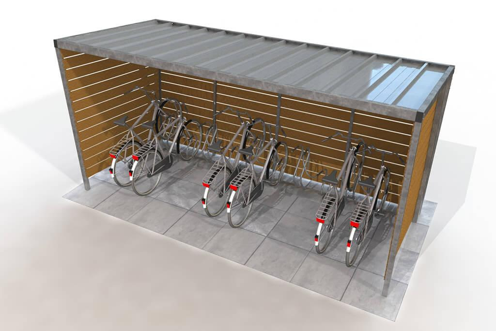 Covered wooden bike shelter with open front