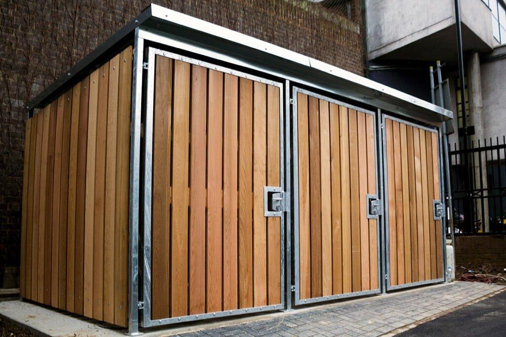 Wood bike lockers
