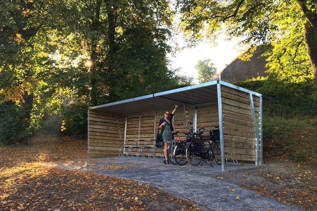 Wooden bike shelter