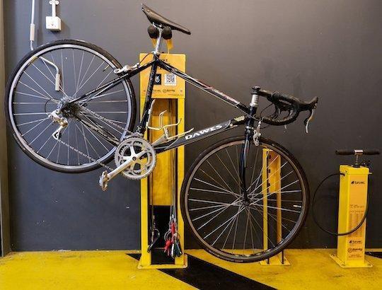 bike repair maintenance station yellow
