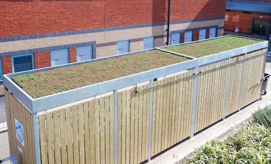sedum green living roof bike shelter