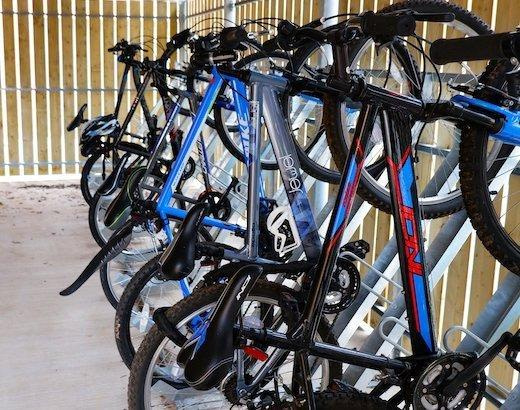 semi-vertical secure office bike rack