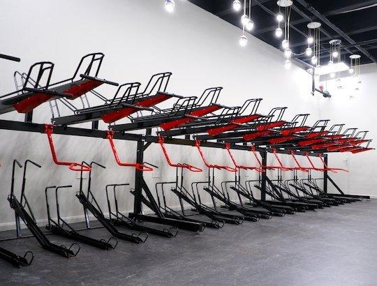 two tier bicycle rack powder coated