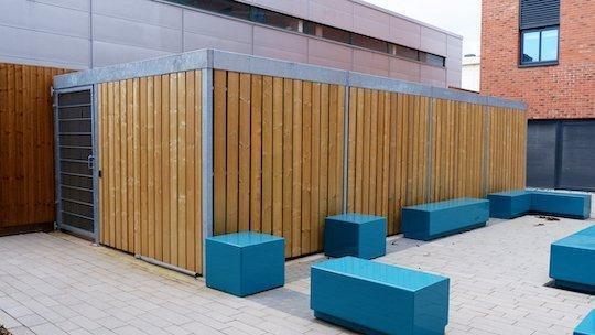 wooden semi vertical bike shelter
