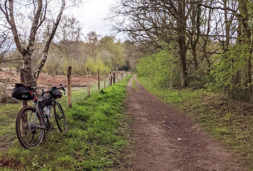 bike in the fields near a path